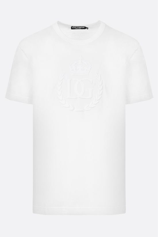 DOLCE & GABBANA: DG Crown print cotton t-shirt Color White_1