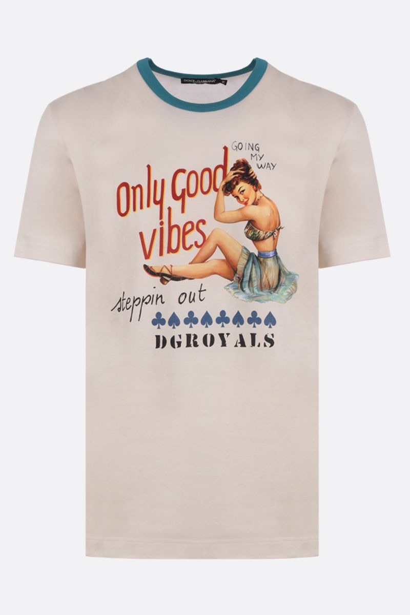 DOLCE & GABBANA: Pin-Up print cotton t-shirt Color White_1