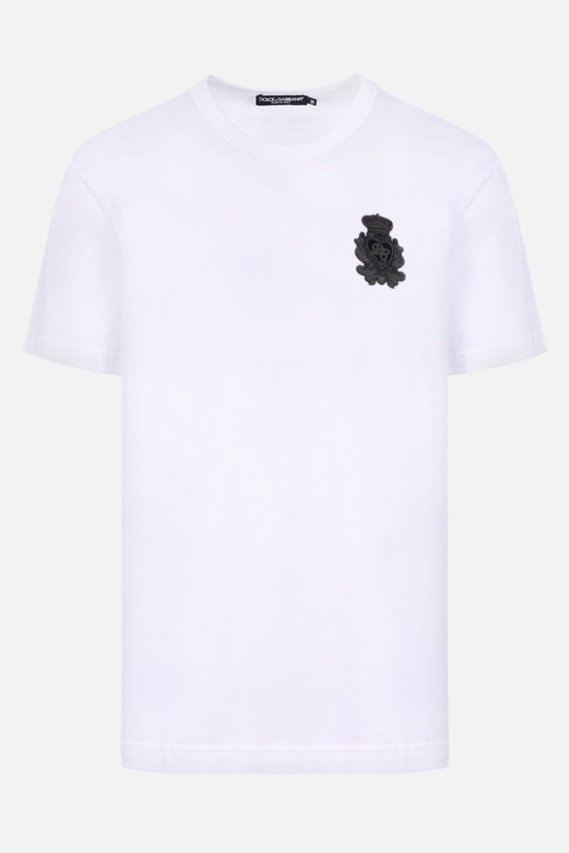 DOLCE & GABBANA: Heraldic patch-detailed cotton t-shirt Color White_1