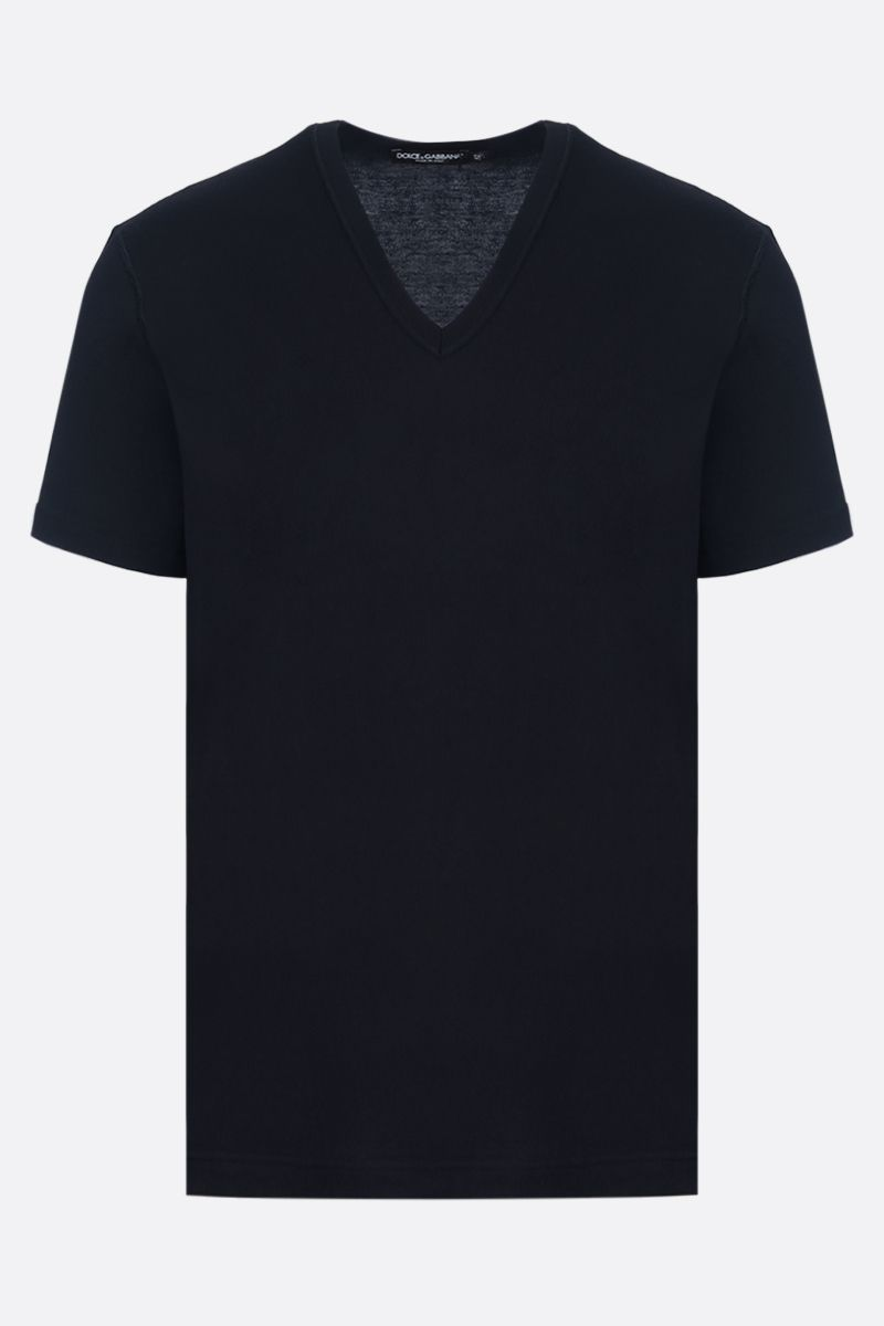DOLCE & GABBANA: logoed label cotton t-shirt Color Blue_1