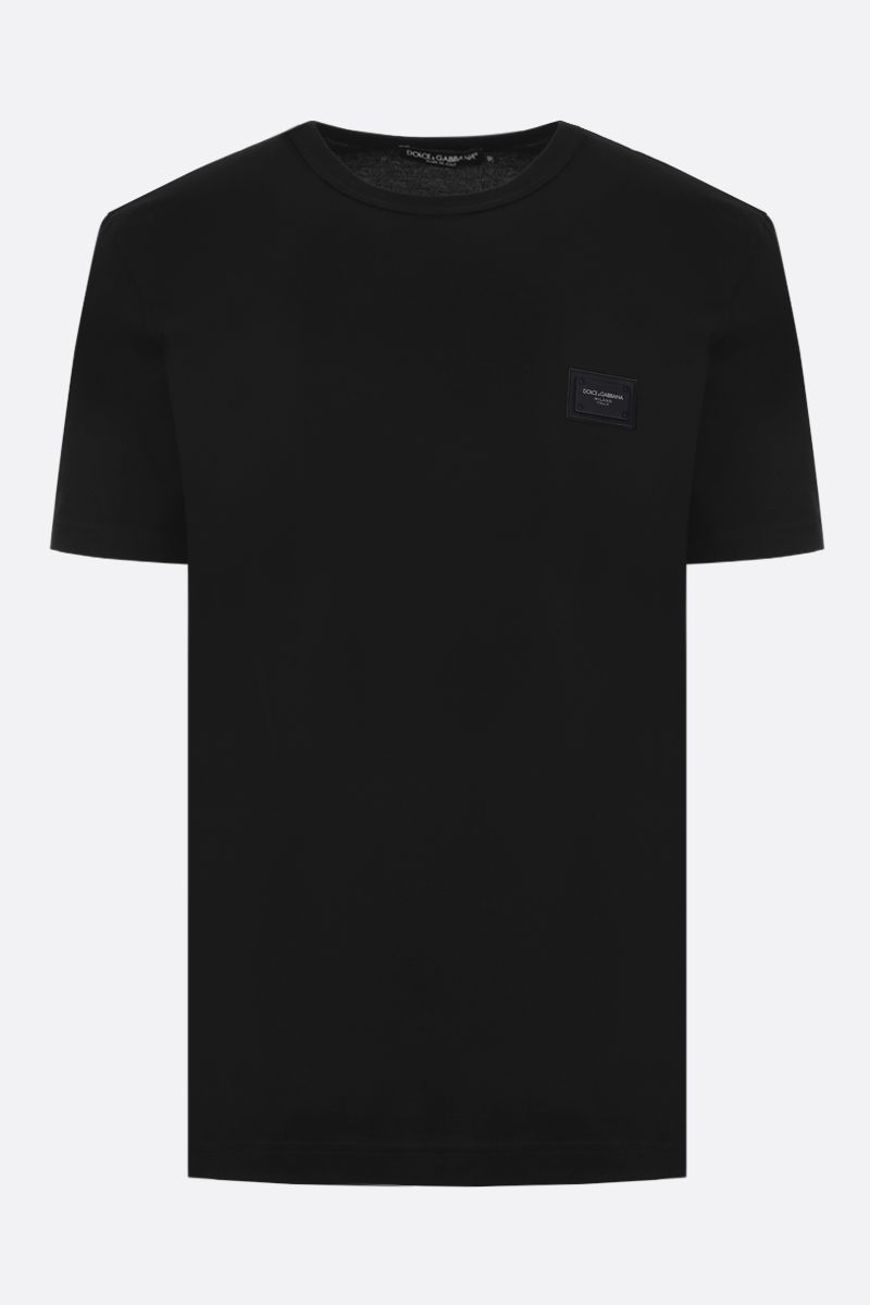 DOLCE & GABBANA: logoed plate-detailed cotton t-shirt Color Black_1