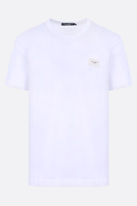 DOLCE & GABBANA: logoed plate-detailed cotton t-shirt Color Multicolor_1