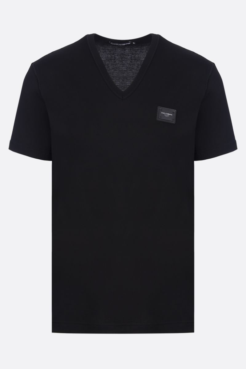 DOLCE & GABBANA: logoed plate jersey t-shirt Color Black_1