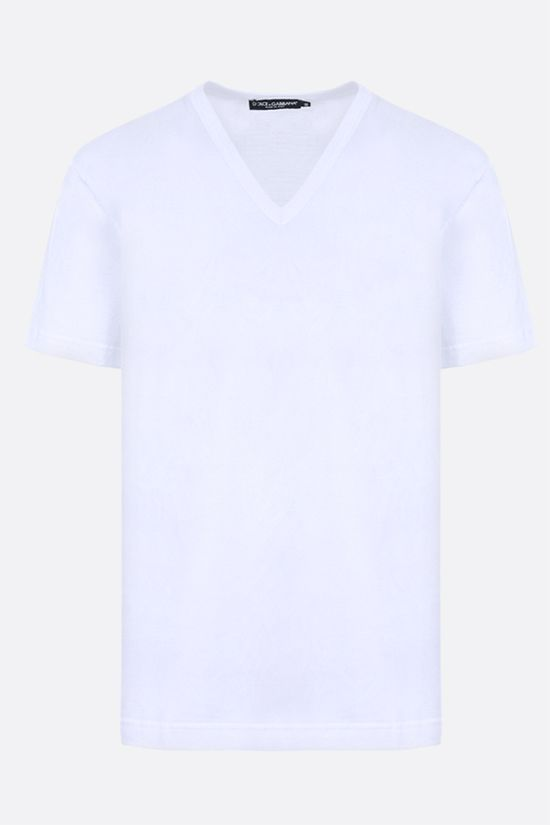 DOLCE & GABBANA: logoed plate-detailed cotton t-shirt Color White_1