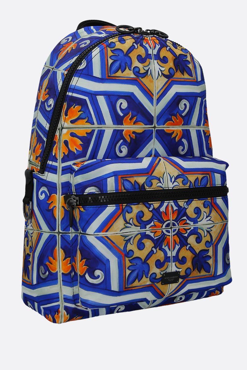 DOLCE & GABBANA: Vulcano backpack in maiolica -print nylon Color Multicolor_2