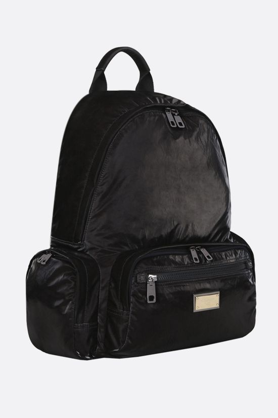 DOLCE & GABBANA: Nero Sicilia DNA shiny nylon backpack Color Black_2