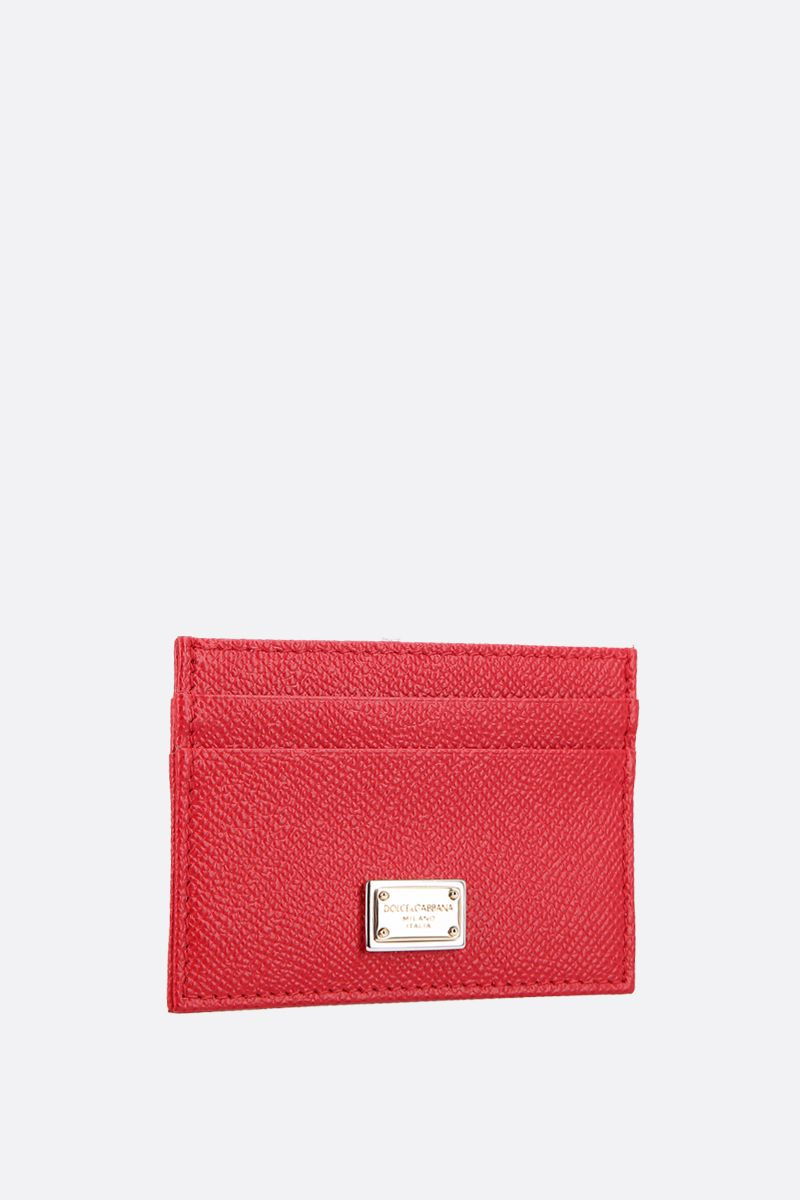 DOLCE & GABBANA: logo-detailed Dauphine leather card case Color Red_2