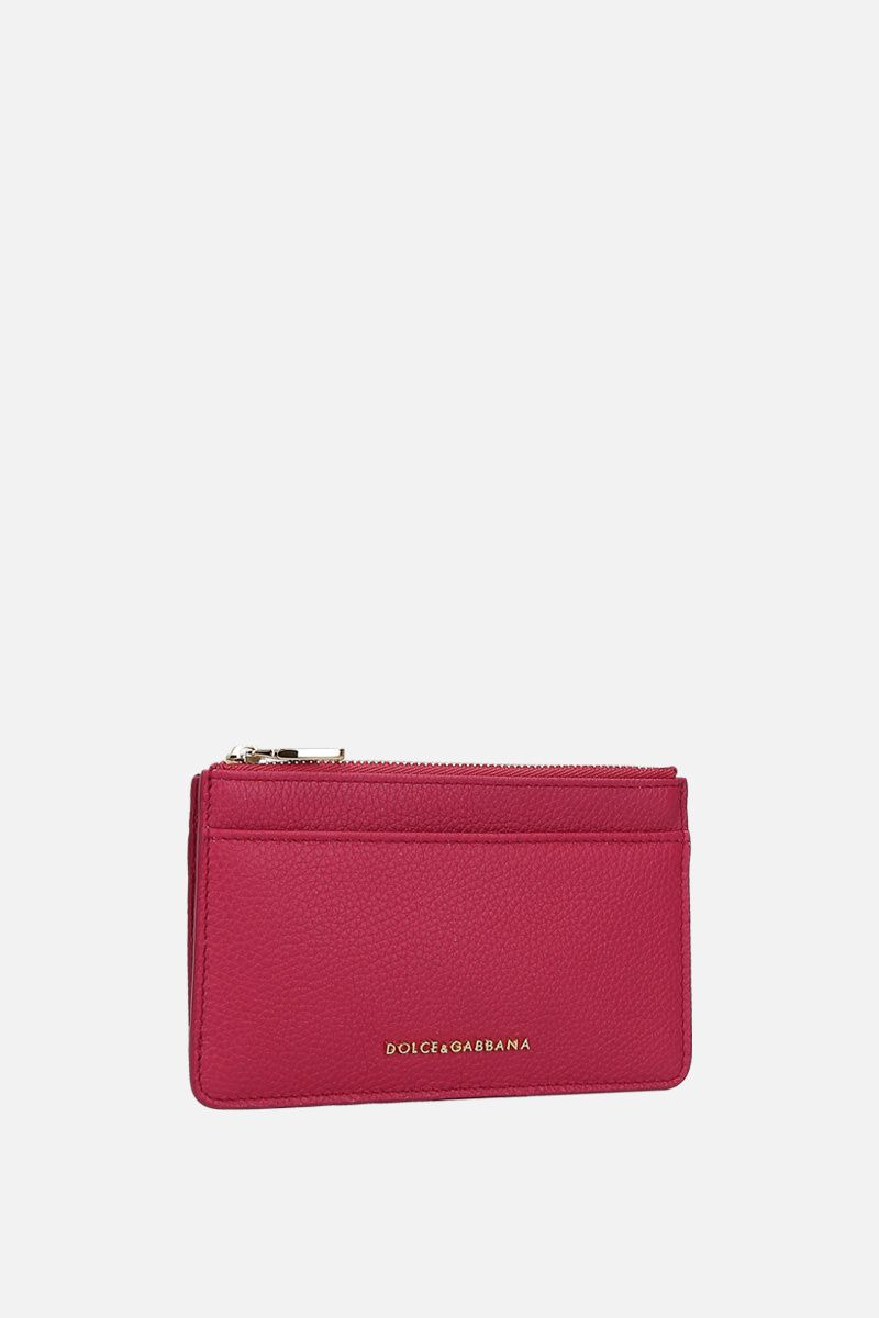 DOLCE & GABBANA: grainy leather zip card case Color Pink_2