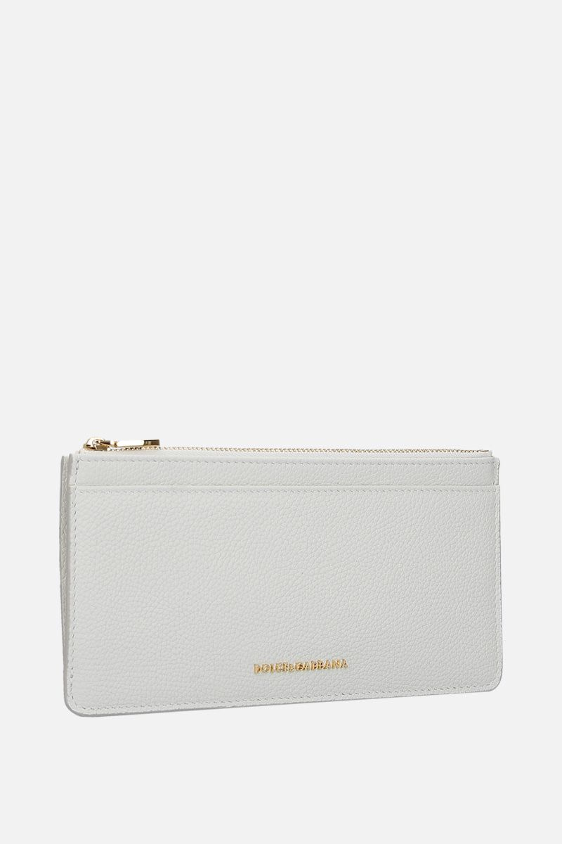 DOLCE & GABBANA: grainy leather card case Color White_2
