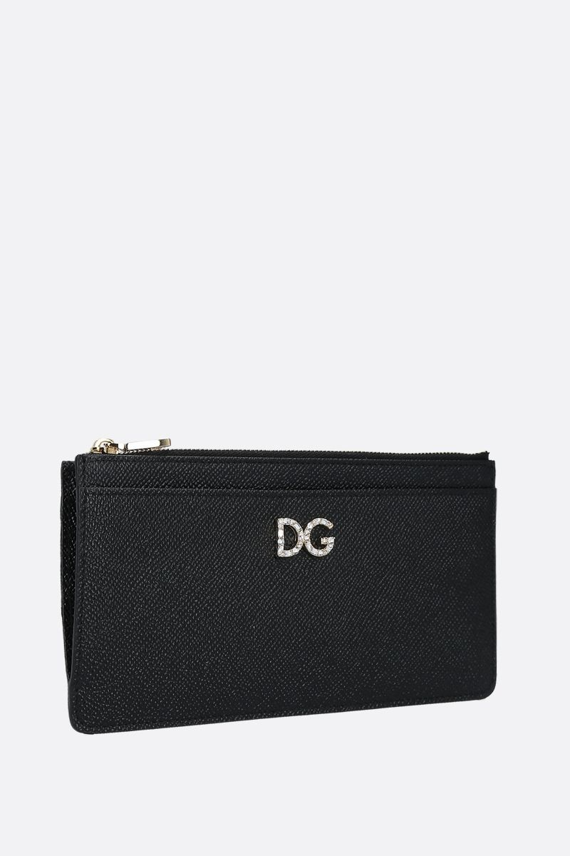 DOLCE & GABBANA: DG-detailed Dauphine leather card case Color Black_2