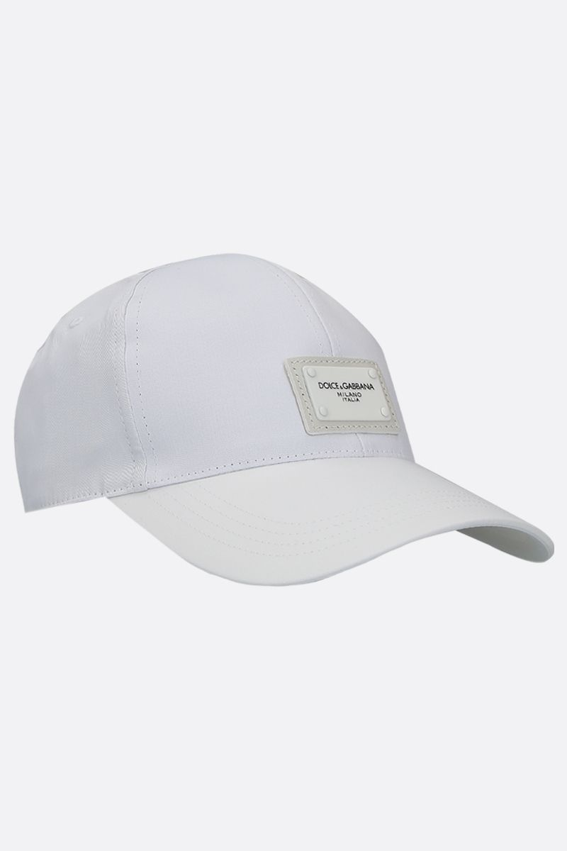 DOLCE & GABBANA: logo plate-detailed canvas baseball cap Color White_2