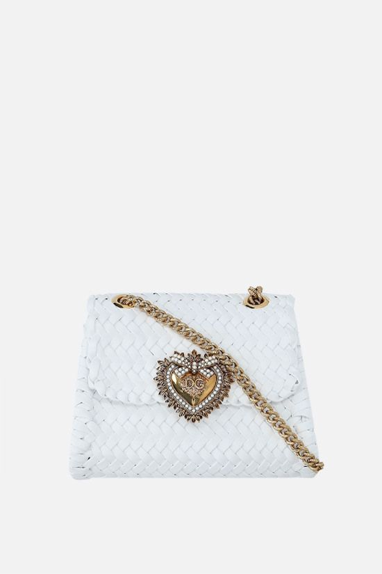 DOLCE & GABBANA: Devotion small woven nappa shoulder bag Color White_1