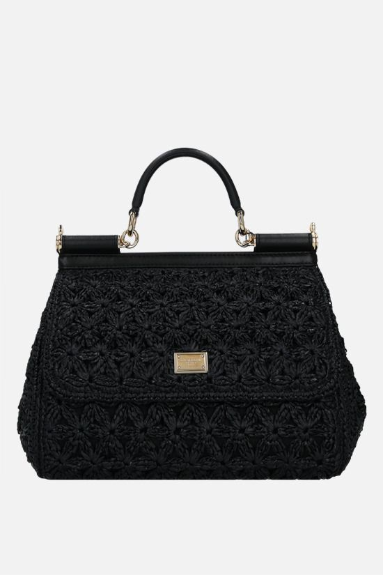 DOLCE & GABBANA: Sicily medium raffia top handle bag Color Black_1