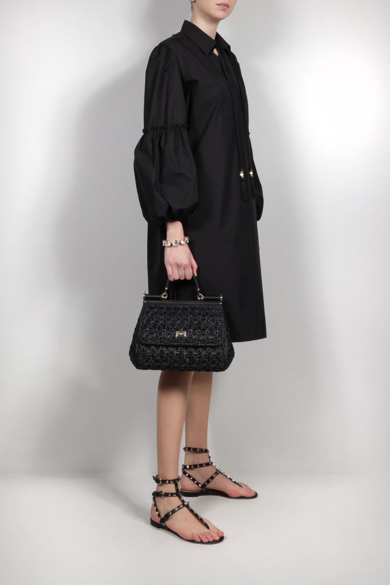 DOLCE & GABBANA: Sicily medium raffia top handle bag Color Black_2