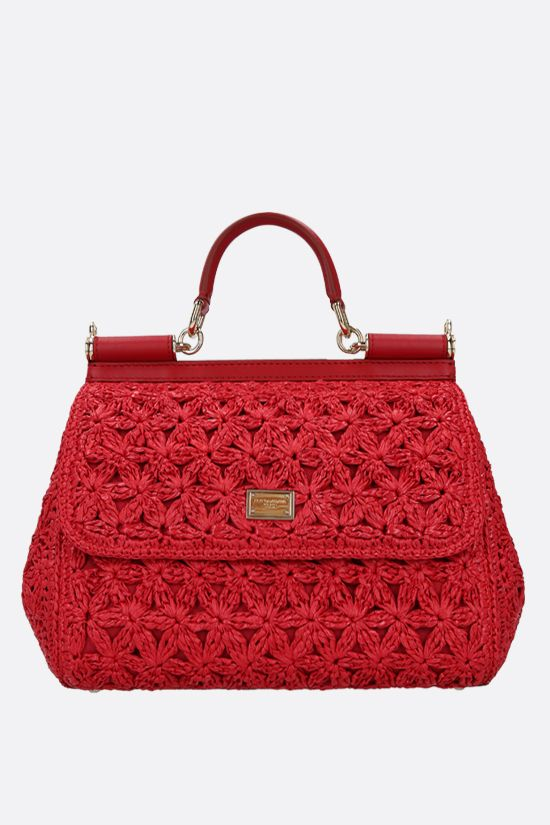 DOLCE & GABBANA: Sicily medium raffia top handle bag Color Red_1