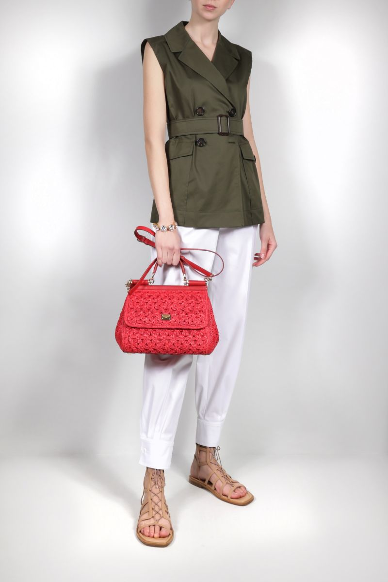 DOLCE & GABBANA: Sicily medium raffia top handle bag Color Red_2