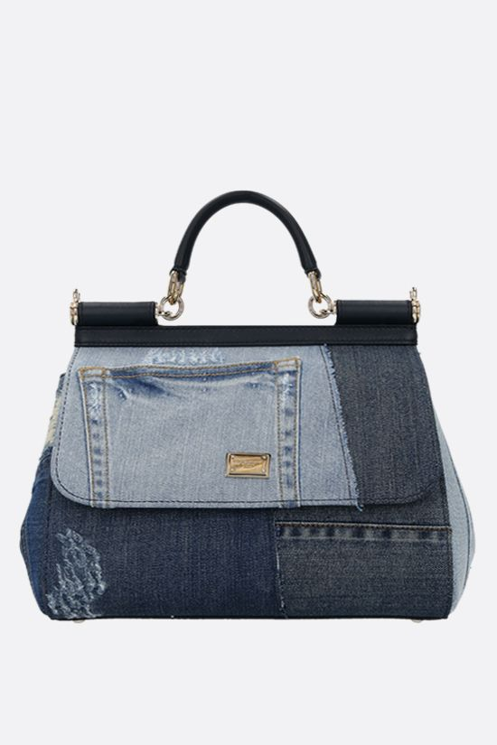 DOLCE & GABBANA: borsa a mano Sicily media in denim patchwork Colore Blu_1