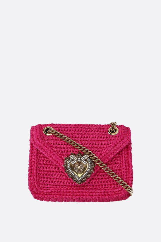 DOLCE & GABBANA: Devotion small raffia shoulder bag Color Purple_1