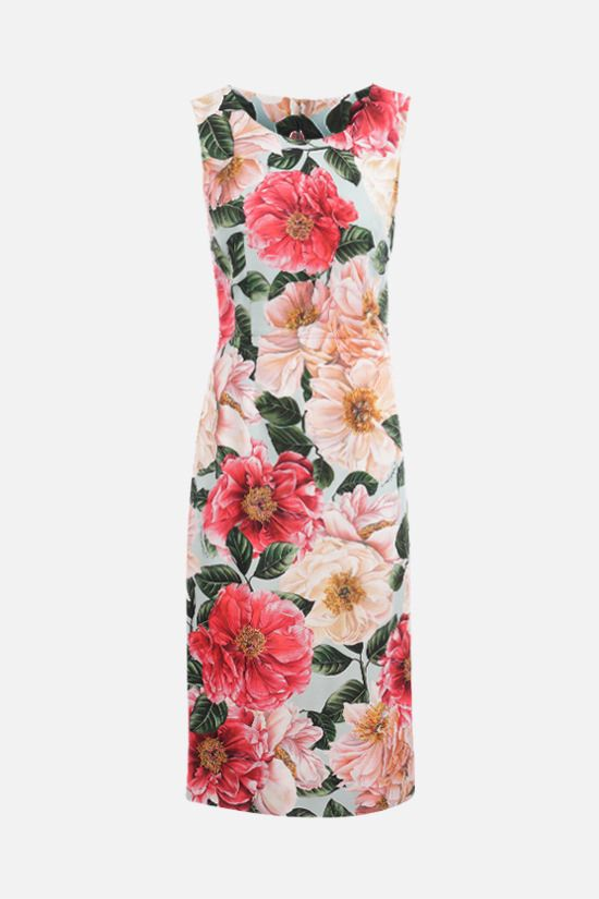DOLCE & GABBANA: Camellia print stretch cady sleeveless dress Color Pink_1