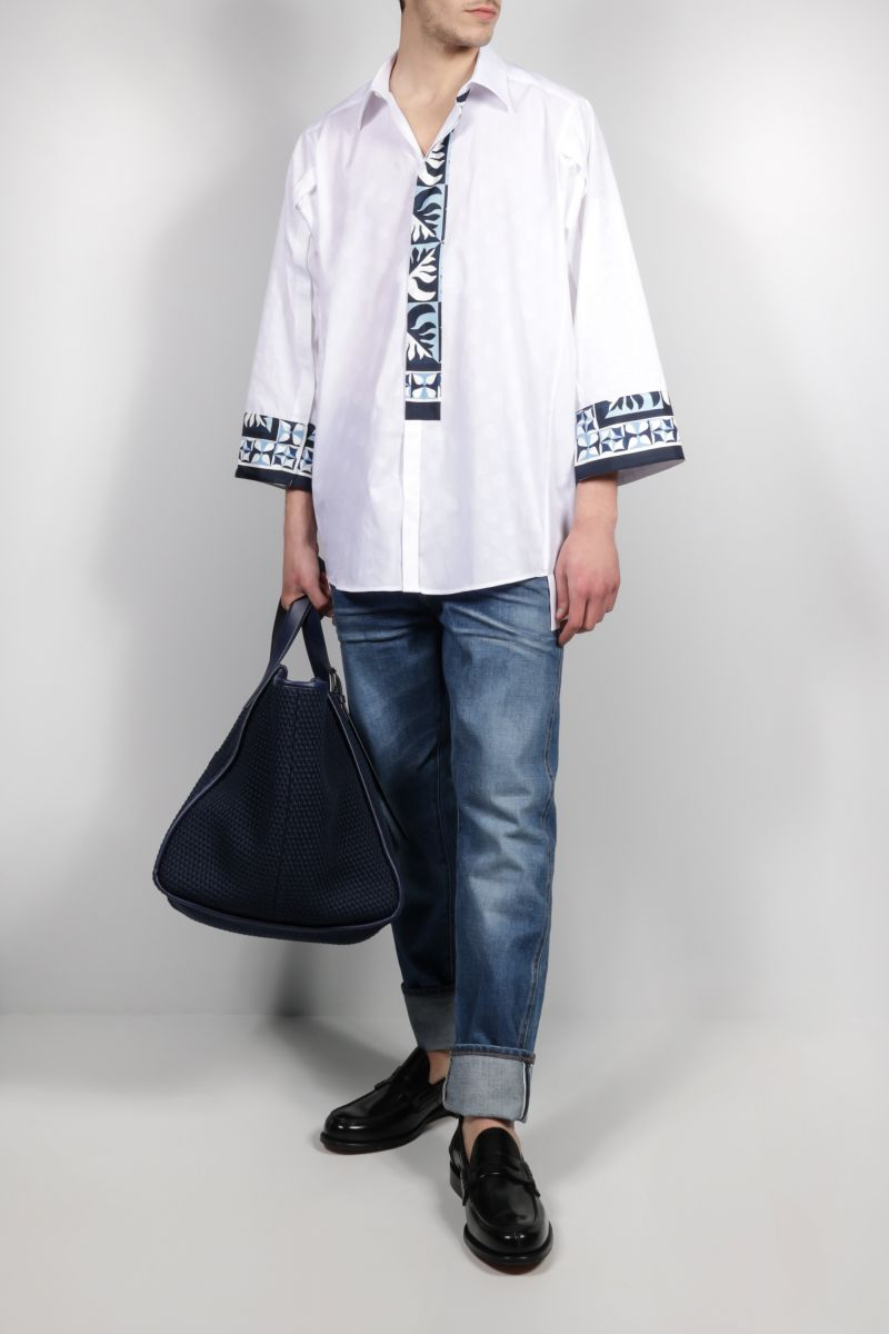 DOLCE & GABBANA: Majolica-detailed jacquard shirt Color White_2