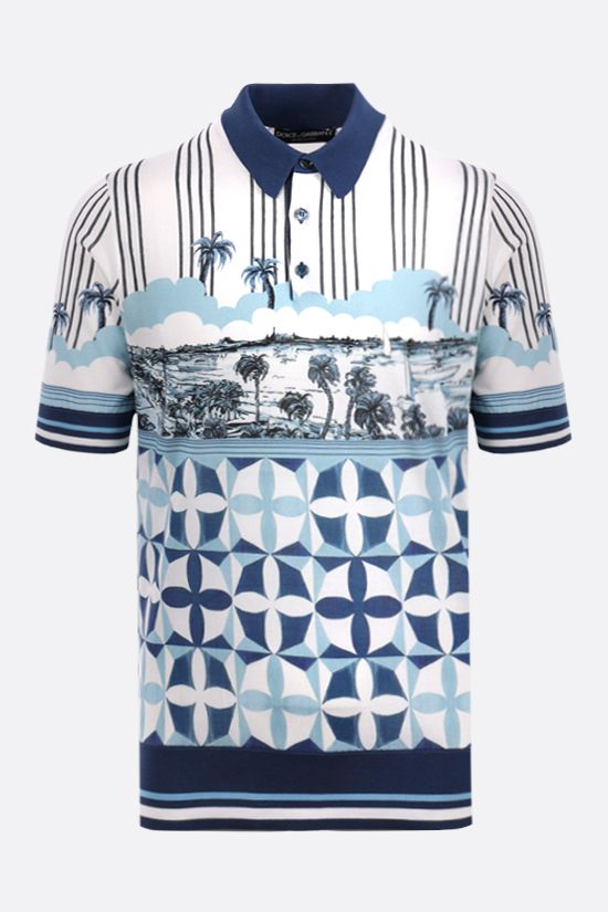 DOLCE & GABBANA: Majolica print silk knit polo shirt Color Blue_1