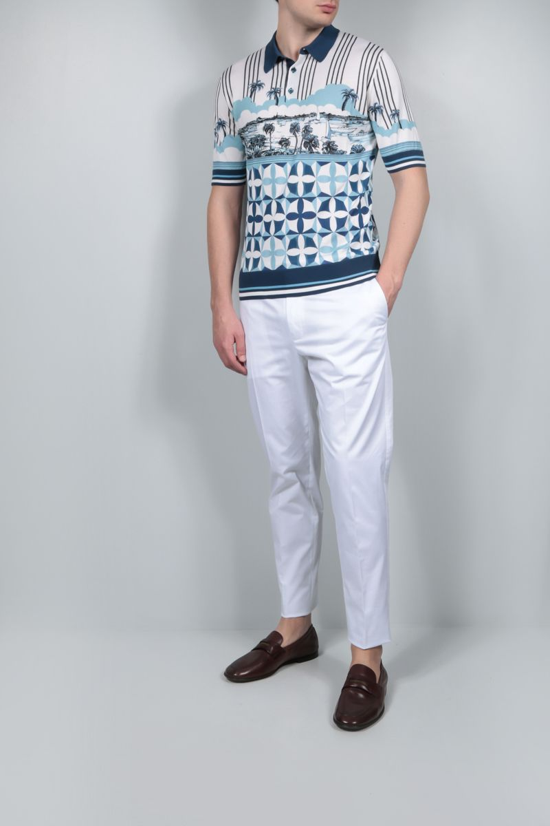 DOLCE & GABBANA: Majolica print silk knit polo shirt Color Blue_2