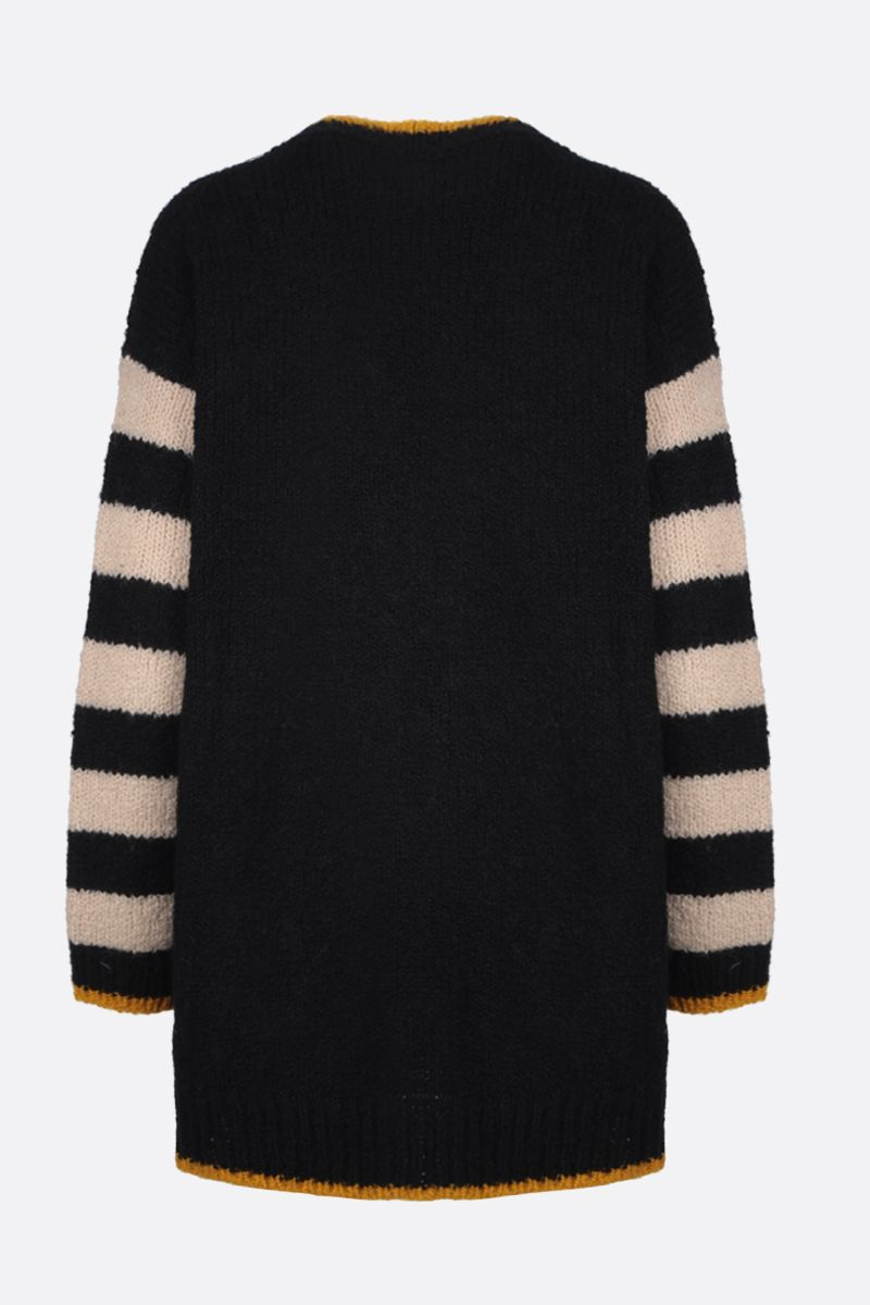 LA DOUBLE J: cardigan oversize Bowling in lana a righe Colore Black_2