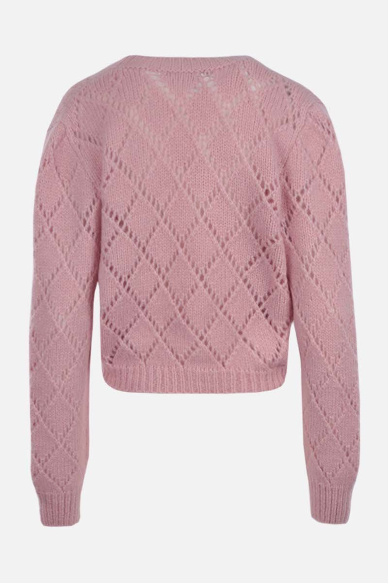 ALESSANDRA RICH: floral embroidered alpaca blend cropped cardigan Color Pink_2