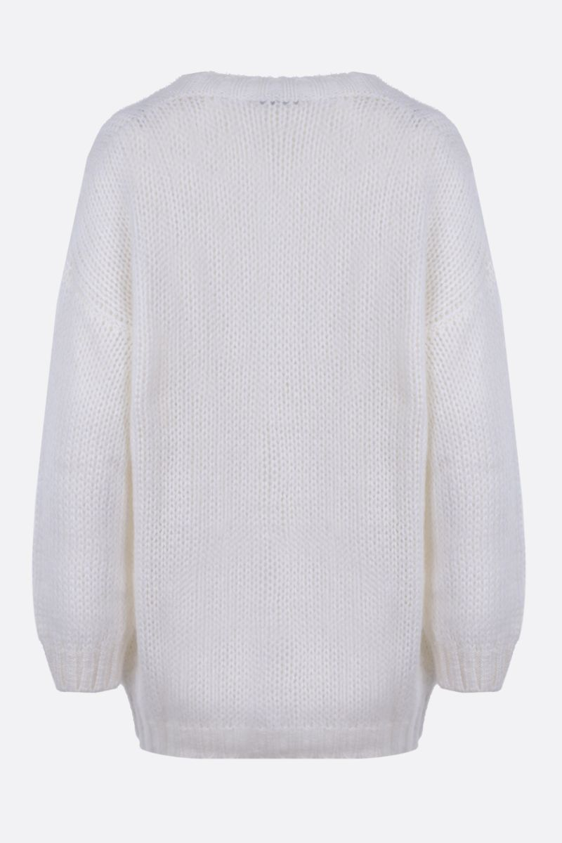 ALESSANDRA RICH: oversize mohair blend cardigan Color White_2