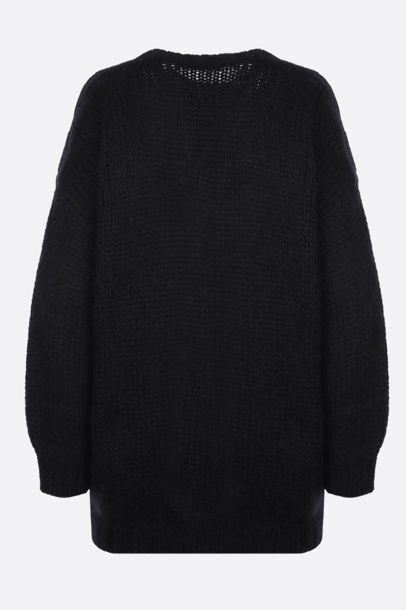 ALESSANDRA RICH: oversize mohair blend cardigan Color Black_2