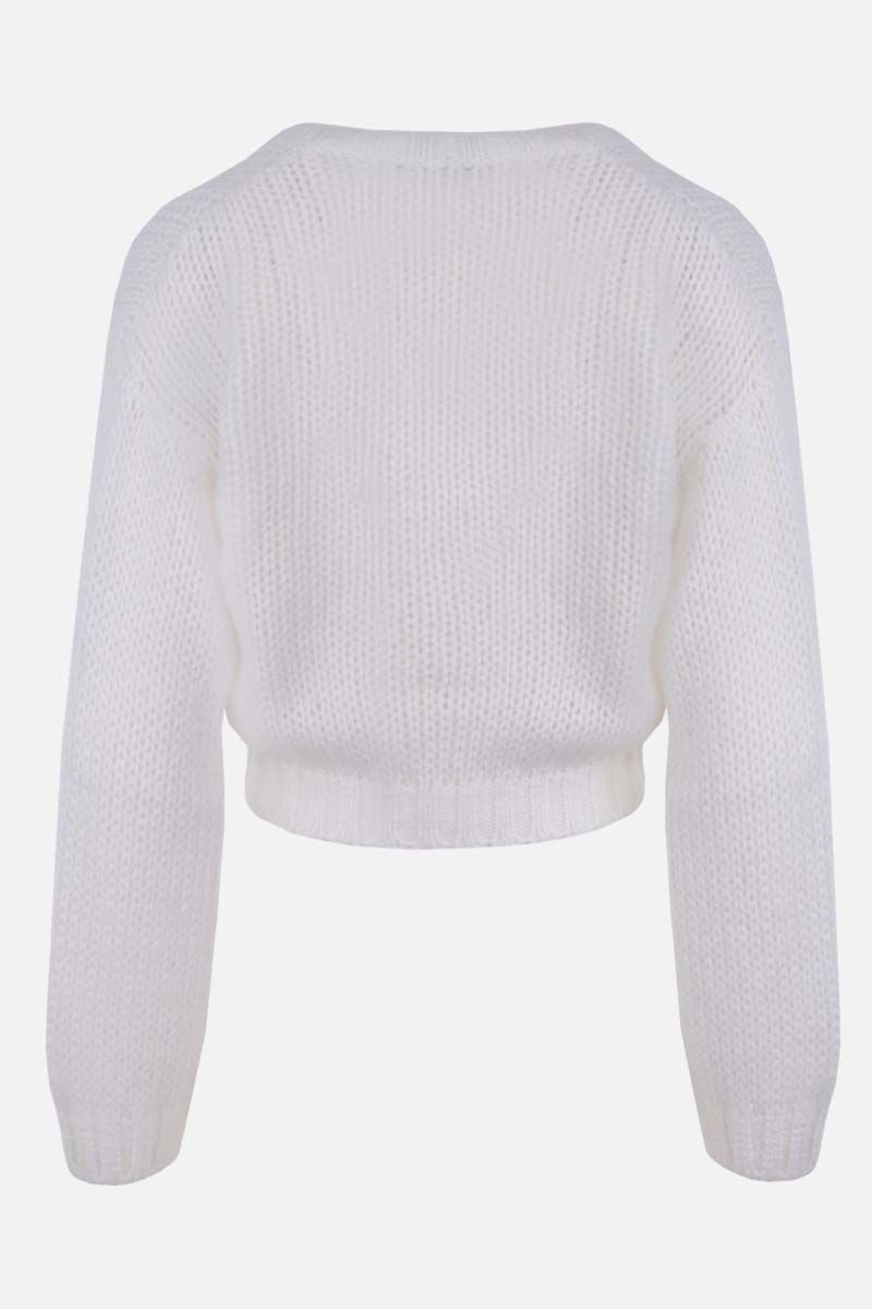 ALESSANDRA RICH: mohair blend cropped cardigan Color White_2