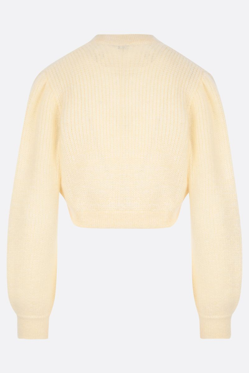 ALESSANDRA RICH: cardigan cropped in misto mohair con paillettes Colore Yellow_2