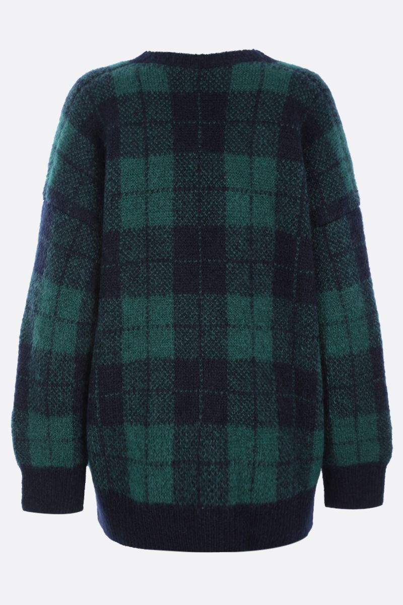 ALESSANDRA RICH: oversize check mohair blend cardigan Color Blue_2
