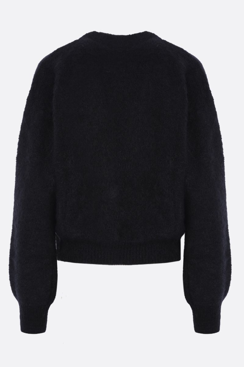 ALESSANDRA RICH: cropped mohair blend cardigan Color Black_2