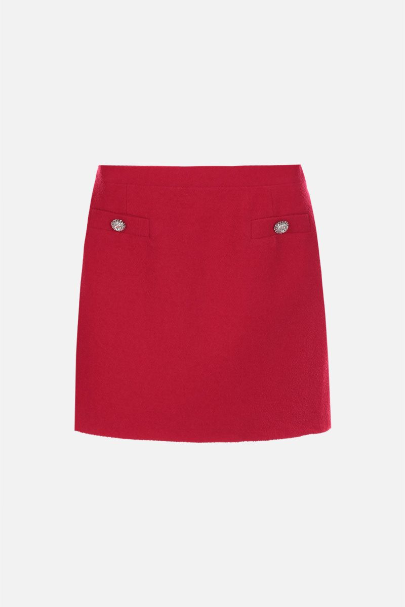 ALESSANDRA RICH: jewel button-detailed wool blend miniskirt Color Red_1