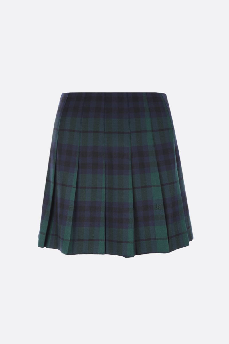 ALESSANDRA RICH: pleated check wool miniskirt Color Green_1