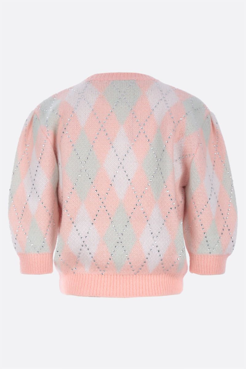 ALESSANDRA RICH: rhinestone-detailed mohair blend cropped pullover Color Pink_2