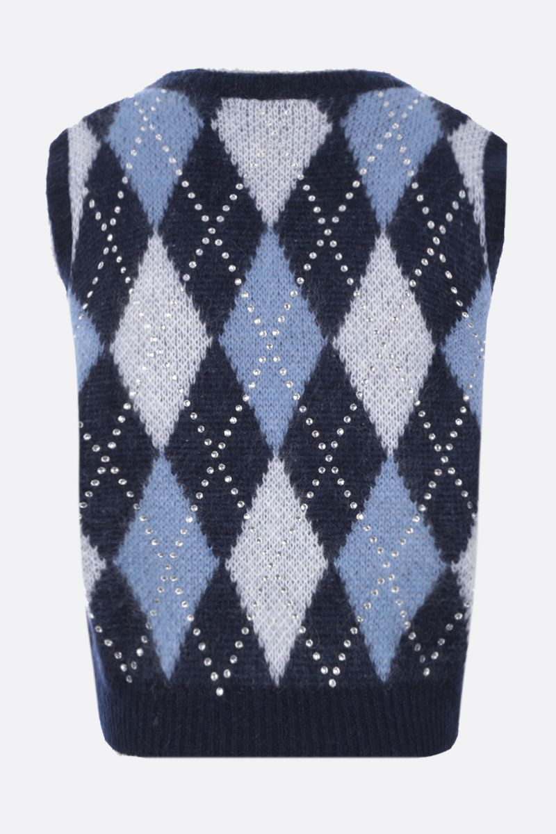 ALESSANDRA RICH: rhinestone-detailed mohair blend sleeveless pullover Color Blue_2