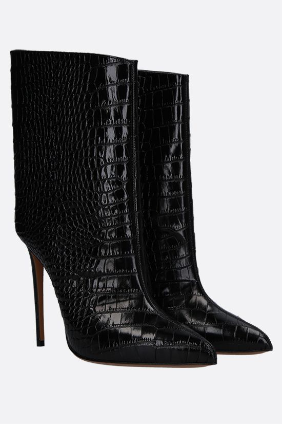 ALEXANDRE VAUTHIER: Alex crocodile-embossed leather booties Color Black_2