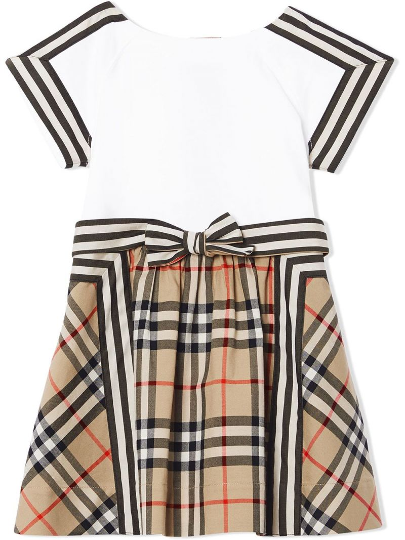 BURBERRY CHILDREN: Vintage check-detailed cotton dress Color Brown_1