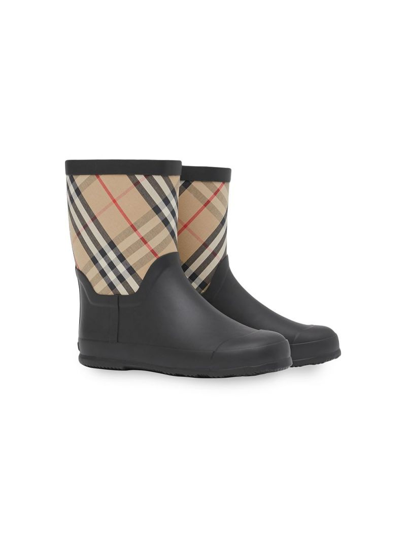 BURBERRY CHILDREN: rubber and fabric rain boots Color Neutral_1