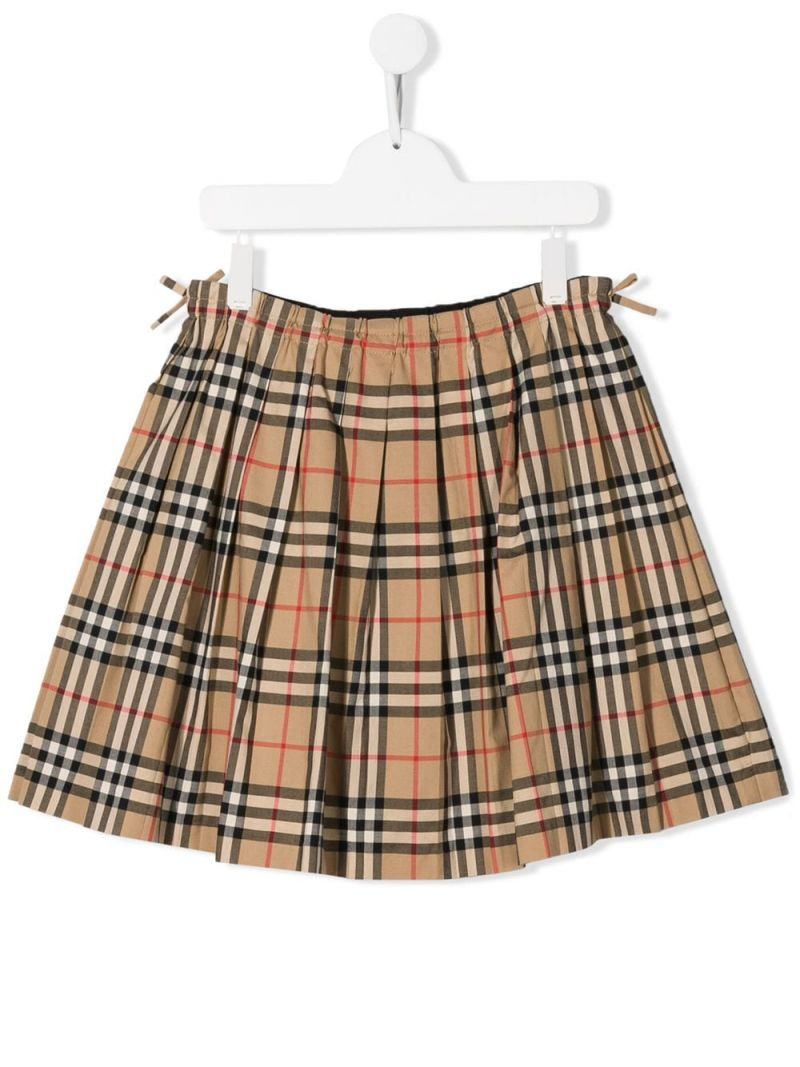 BURBERRY CHILDREN: Vintage check cotton pleated skirt Color Brown_1