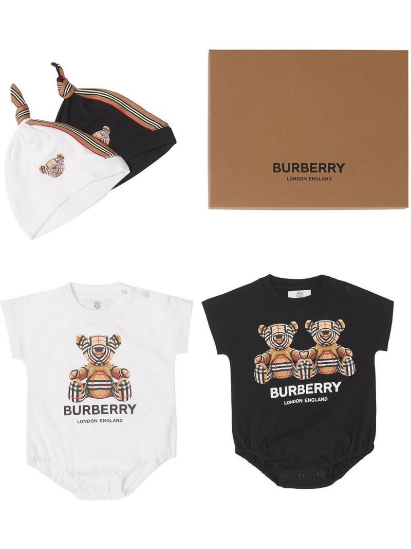 BURBERRY CHILDREN: four-piece babygrow set in cotton and technical wool Color White_1