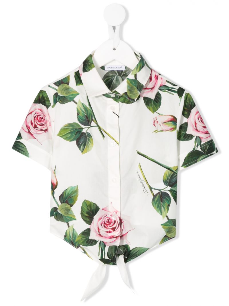 DOLCE & GABBANA CHILDREN: Tropical Rose print cotton cropped shirt Color Pink_1