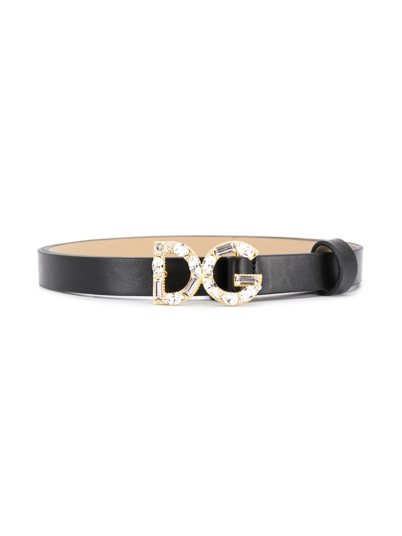 DOLCE & GABBANA CHILDREN: DG buckle-detailed smooth leather belt Color Black_1