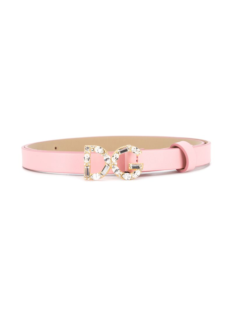 DOLCE & GABBANA CHILDREN: DG buckle-detailed smooth leather belt Color Pink_1