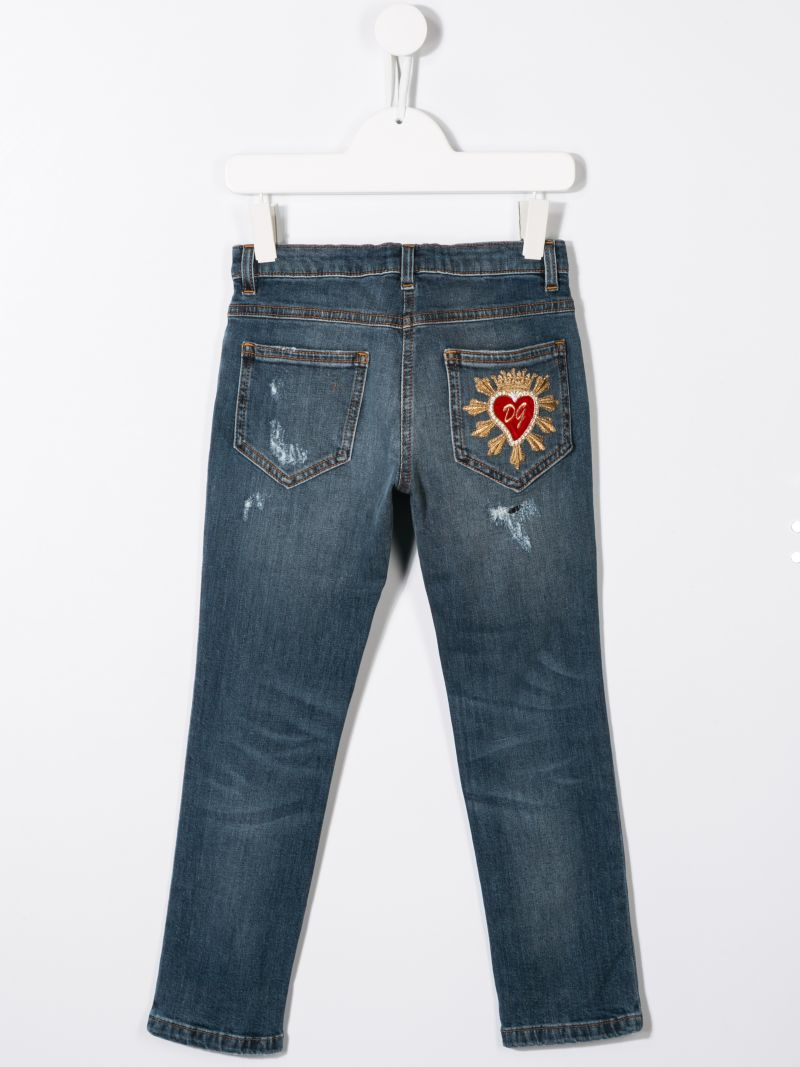 DOLCE & GABBANA CHILDREN: Sacred Heart embroidered slim-fit jeans_2