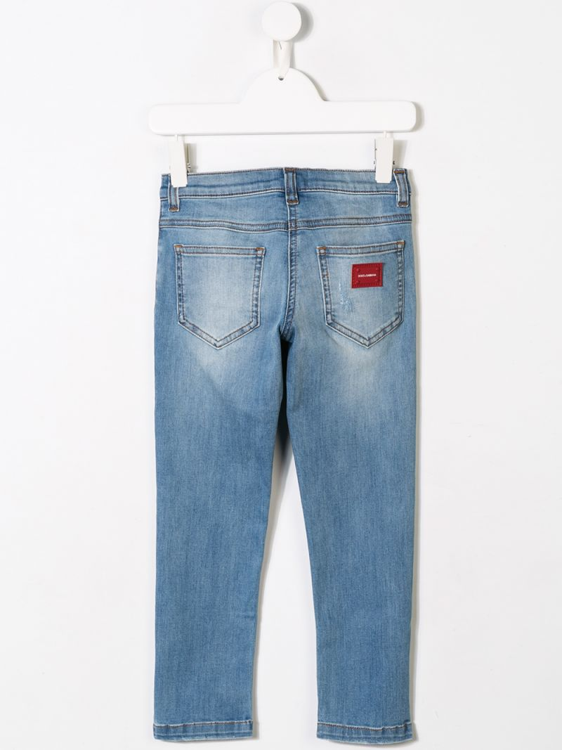 DOLCE & GABBANA CHILDREN: regular-fit jeans with logo patch Color Blue_2