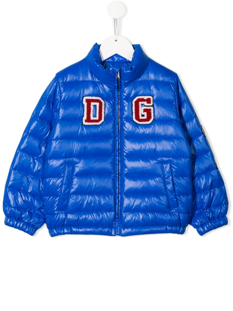 DOLCE & GABBANA CHILDREN: DG patch nylon down jacket Color Blue_1