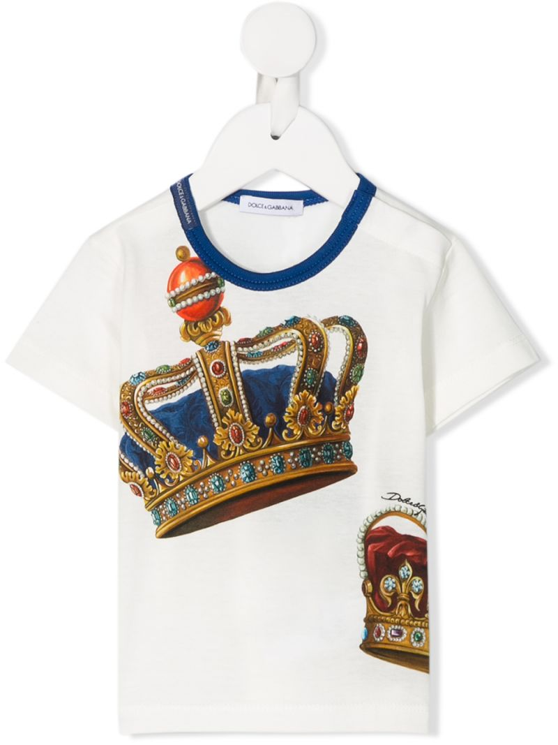 DOLCE & GABBANA CHILDREN: Crown print jersey t-shirt Color White_1
